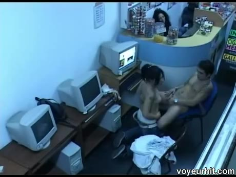 Live internet cafe sex on hidden cam