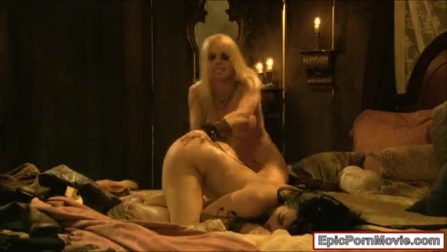 Two lustful whore have lesbian sex in a pirate ship