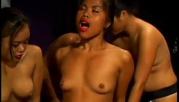 Blonde Chick GangBanged by Asian Lesbians