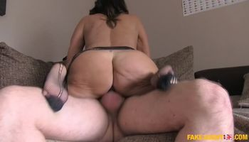 Casting a Horny Sexy Babe in Black Stockings